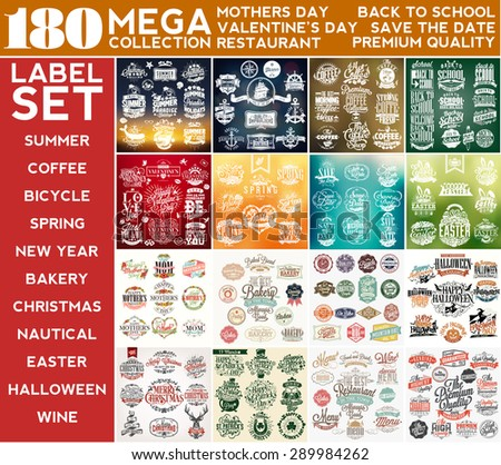 Mega Collection Label Set, Mothers Day, Summer, Valentine's Day, Coffee, Nautical, Back To School, Spring, Save The Date, Easter, Mothers Day, Bakery, Bicycle, Halloween, Christmas, St Patrick's - stock vector