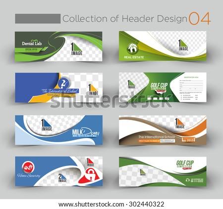 Mega Collection Modern Horizontal Banner & Header Template.no 4 - stock vector