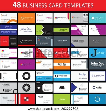 Mega collection of 48 abstract business cards or visiting cards on distinctive topic, horizontal arrangement. EPS 10. - stock vector