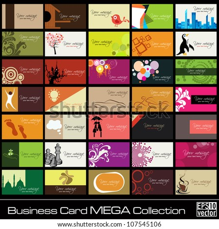 Mega collection of 35 abstract professional and designer business cards or visiting cards on different topic, arrange in horizontal. EPS 10. - stock vector