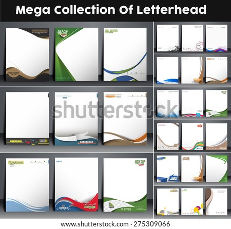 Mega Collection of Business Style Corporate Identity Leterhead Template.  - stock vector