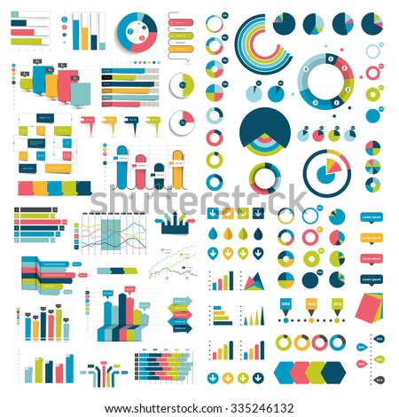 Mega Collection of charts, graphs, flowcharts, diagrams and infographics elements. Infographics in various color. - stock vector