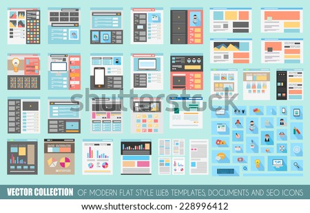 Mega Collection of Flat Style Website templates, Sheets, Icons, Social Network layouts, generic blogs, video portals and so on. - stock vector