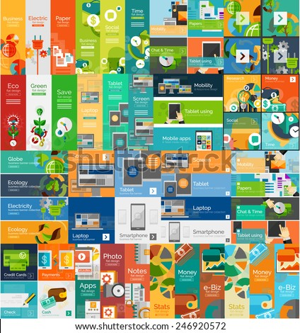 Mega collection of flat web infographic concepts and banners, various universal set - stock vector