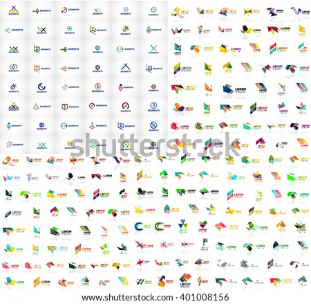 Mega collection of geometrical abstract logo templates, origami paper style business icons with sample text. Vector illustration - stock vector