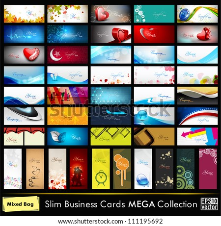 Mega collection of 52 professional and designer business cards or visiting cards on different topic, arrange in horizontal and vertical. EPS 10. - stock vector