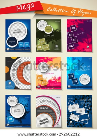 Mega collection of Professional business flyer, stylish brochure, magazine cover, poster & corporate banner design, brochure design template, corporate backgrounds, EPS 10. - stock vector