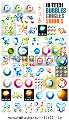 Mega collection of swirl, circle, sphere, glossy bubble concept banners. - stock vector