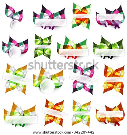 Mega collection of vector green summer concepts - leaves compositions, plants. Various futuristic colors, vector illustration - stock vector