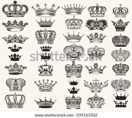 Mega collection or set of vector high detailed crowns for design - stock vector