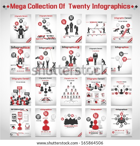 MEGA COLLECTIONS OF TEN MODERN ORIGAMI BUSINESS ICON MAN STYLE OPTIONS  - stock vector
