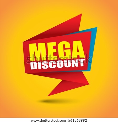 Mega discount bubble banner in vibrant colors