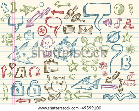 Mega Doodle Sketch Vector Collection Illustration Set