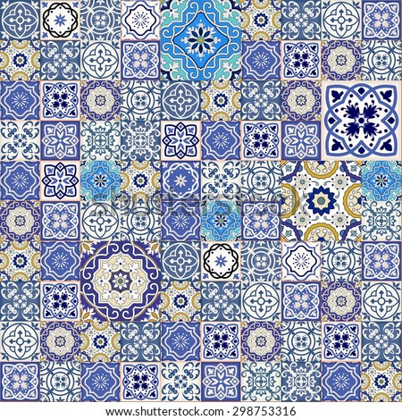 Mega Gorgeous seamless patchwork pattern from colorful Moroccan tiles, ornaments. Can be used for wallpaper, pattern fills, web page background,surface textures.  - stock vector