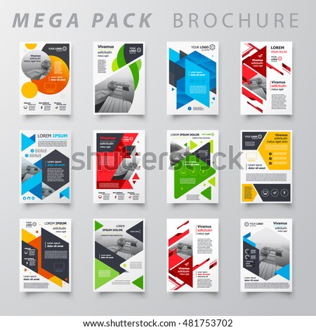 Mega pack Brochure design template flyer set, abstract business brochure size A4 template, creative cover set