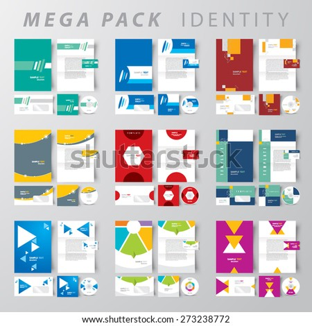 Mega pack Corporate identity design template set - stock vector