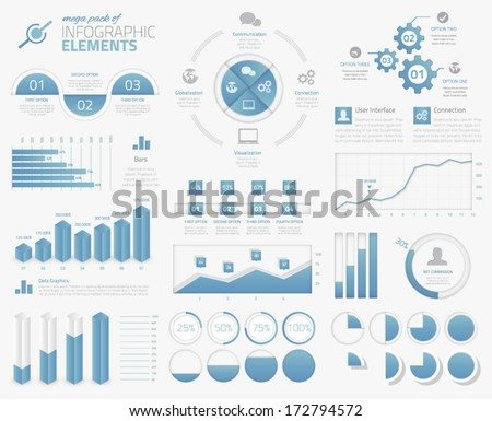 Mega pack of infographic graphs, options, elements vector - stock vector