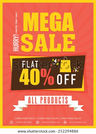 Mega sale flyer, banner or template with flat discount on all products . - stock vector