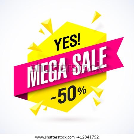 Mega Sale poster, banner. Vector illustration. - stock vector