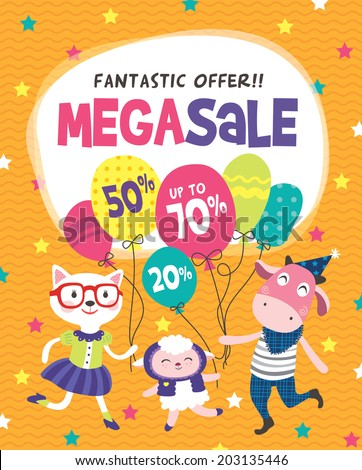 Mega Sale Poster Design - stock vector