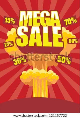 Mega sale poster with atom bomb effect on a background - stock vector