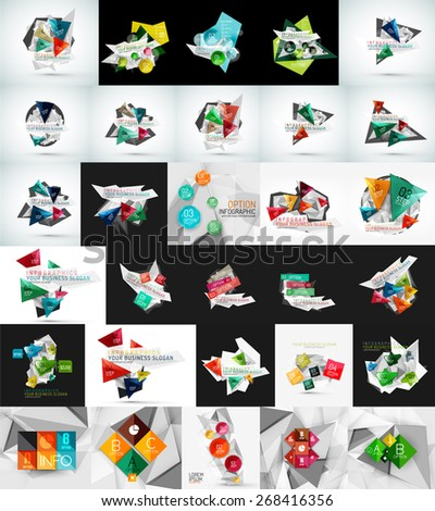 Mega set of abstract geometric web banner decorations. Vector illustration - stock vector