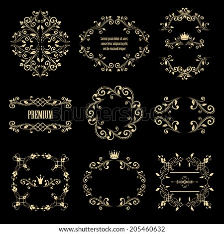 mega set of beige retro styled ornamental designs. frames with crowns for your photo or sample text. isolated on black background. vector illustration. can use for birthday card, wedding invitations.  - stock vector