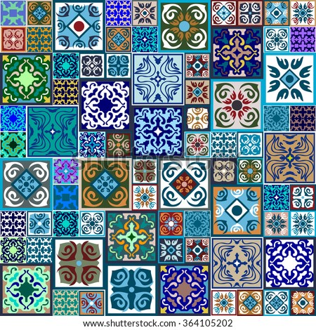 Mega set of ceramic tiles with fantasy print. Colorful vintage flooring with Moroccan floral and geometrical patterns. Gradation of blue, green, brown and beige shadows. Backgrounds & textures shop. - stock vector