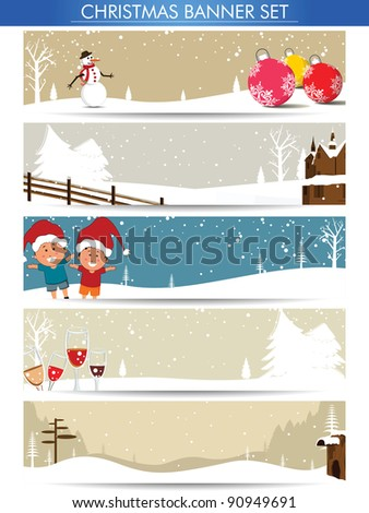 Mega set of Christmas banners with Santa, snowman, Christmas balls for Winter, Christmas & other occasions. - stock vector