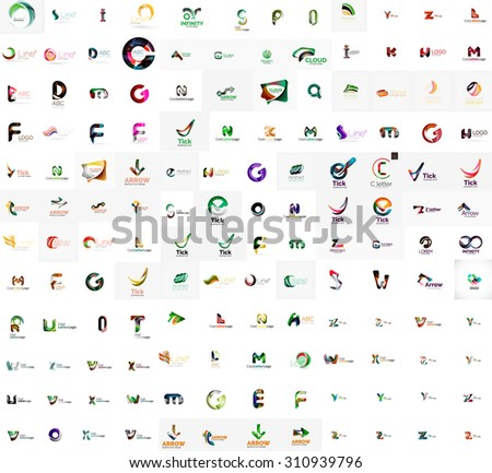 Mega set of geomeric letter company logos. Corporate business branding design elements
