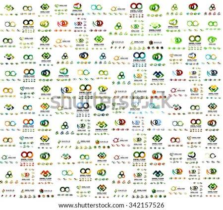 Mega set of infinity and loop business logos. Vector corporate branding icons - stock vector