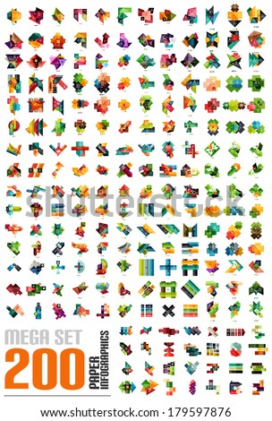 Mega set of infographic templates made of pieces of paper - 200 designs - stripes, ribbons, lines. For banners, business backgrounds, presentations - stock vector