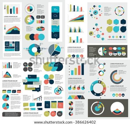 Mega set of infographics elements charts, graphs, circle charts, diagrams, speech bubbles. Flat and 3D design. Vector. - stock vector