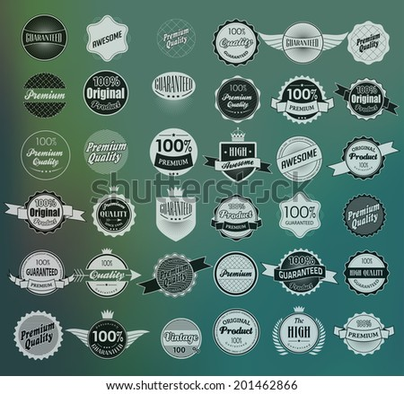 Mega set of retro vintage ribbons and label - stock vector