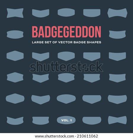 Mega set of vintage vector badge shapes, collection of design elements for creating retro logos (volume 1) - stock vector
