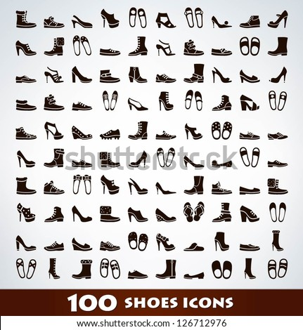 Mega shoes icon set - stock vector