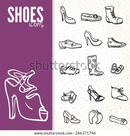 Mega shoes icon set - stock vector
