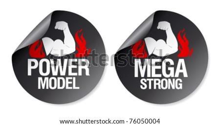 Mega strong, power model stickers set. - stock vector