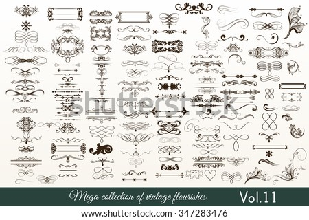Mega vector  collection or set of filigree drawn flourishes in vintage or retro style - stock vector