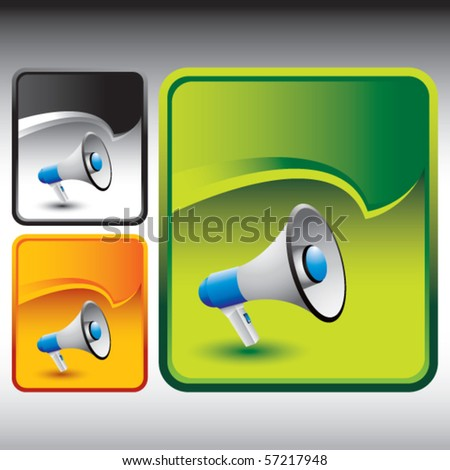 megaphone colored rip curl banners - stock vector