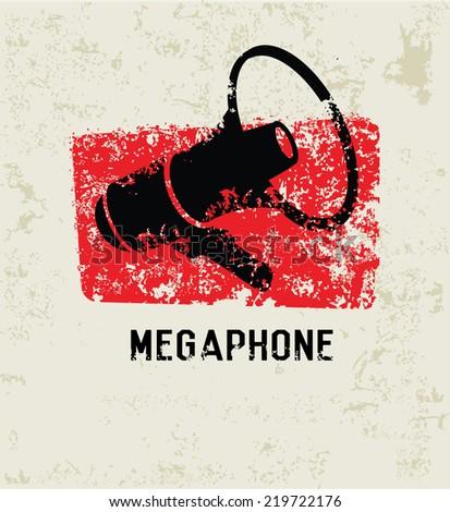 Megaphone design,grunge vector - stock vector