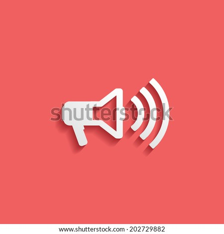 megaphone, flat icon isolated on a red background for your design, vector illustration - stock vector