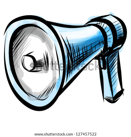 Megaphone icon hand drawing sketch vector illustration - stock vector