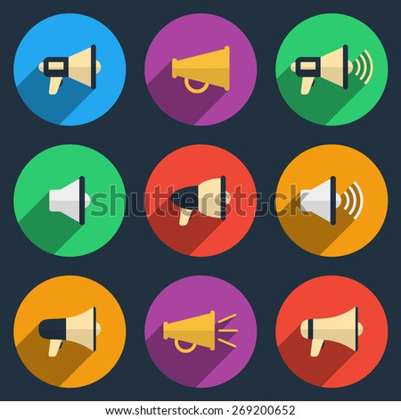 Megaphone icons set. Color pictogram, loudspeaker and audio, broadcasting and speaker, vector illustration - stock vector