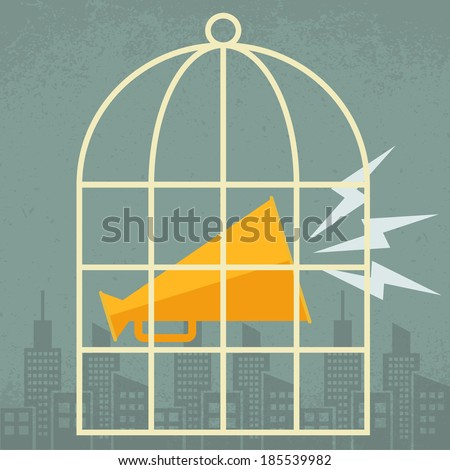 Megaphone in a cage - stock vector