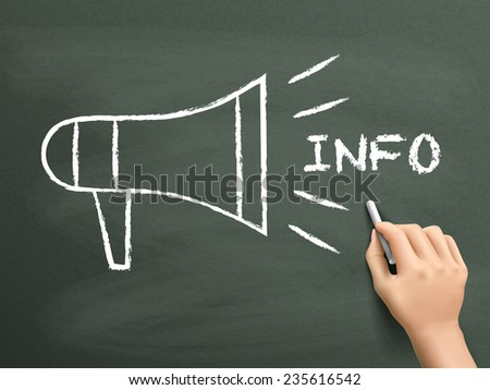 megaphone info concept drawn by hand isolated on blackboard - stock vector