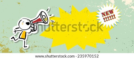 Megaphone kid, girl shouting. Communication, news announcement vector drawing, doodle.  - stock vector