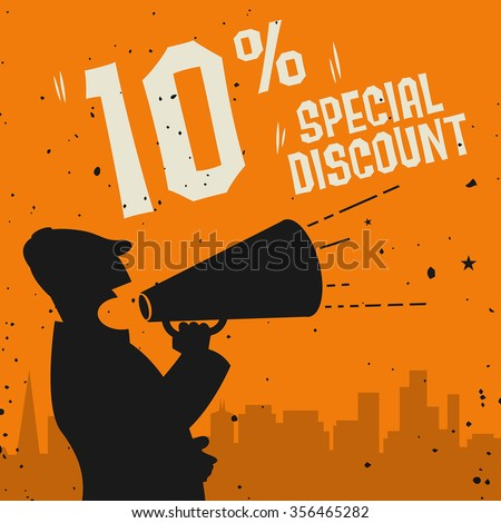 Megaphone Man, business concept with text Special Discount, vector illustration - stock vector