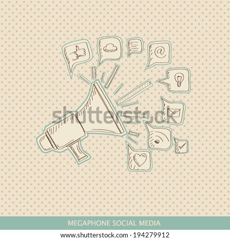 megaphone throwing social icon - stock vector