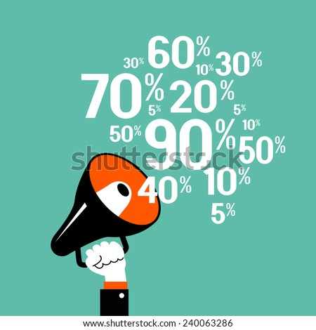 Megaphone with percent discounts. Flat modern design - stock vector